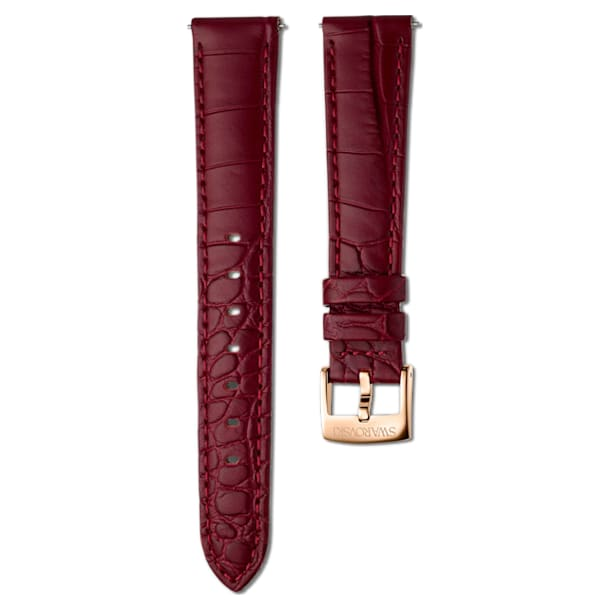 17mm Watch strap, Leather with stitching, Dark Red, Rose-gold tone plated - Swarovski, 5548627