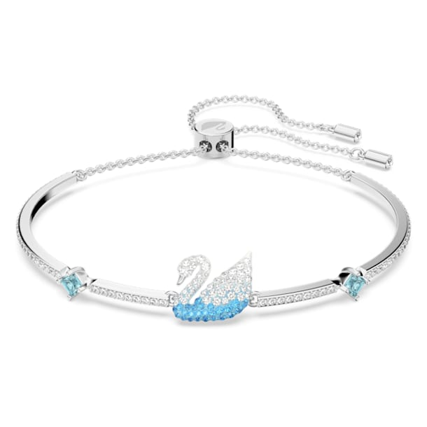Iconic Swan Bangle, Blue, Rhodium plated - Swarovski, 5549312