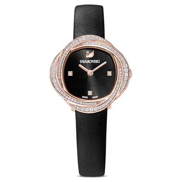 Hodinky Crystal Flower s koženým páskem, černé, PVD v odstínu růžového zlata - Swarovski, 5552421