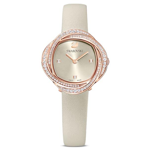 Crystal Flower-horloge, Leren horlogebandje, Grijs, Roségoudkleurig PVD - Swarovski, 5552424