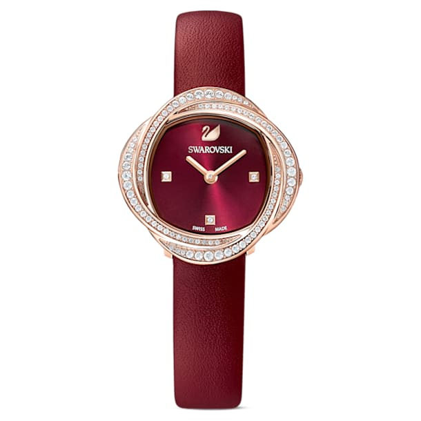 Crystal Flower Watch, Leather strap, Red, Rose-gold tone PVD - Swarovski, 5552780