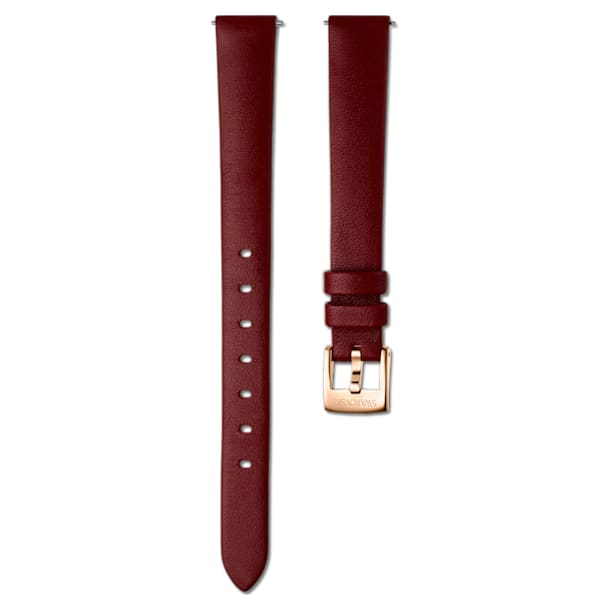 Bracelete de relógio de 12 mm, couro, vermelha‑escura, PVD rosa dourado - Swarovski, 5553221