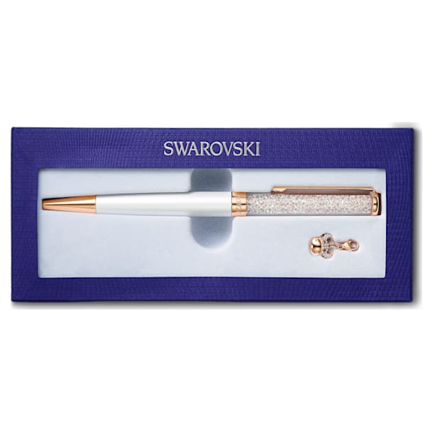 Crystalline Chinese New Year Ox Ballpoint Pen, White, Rose-gold tone plated - Swarovski, 5553338