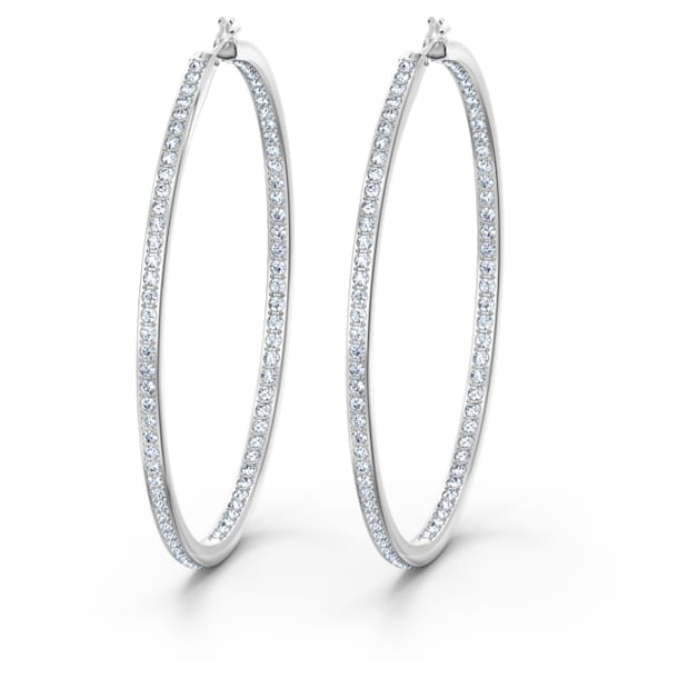 Rare Hoop Pierced Earrings, White, Rhodium plated - Swarovski, 5555724