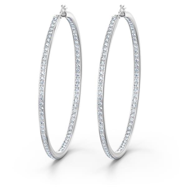 Rare 大圈耳环, 白色, 镀铑 - Swarovski, 5555724