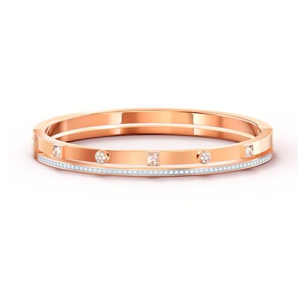 Βραχιόλι-χειροπέδα Thrilling, λευκό, επιχρυσωμένη με ροζ χρυσό - Swarovski, 5555746