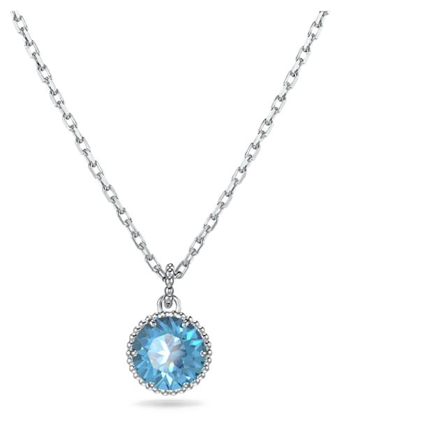 Pandantiv piatră zodiacală, decembrie, albastru, placat cu rodiu - Swarovski, 5555792