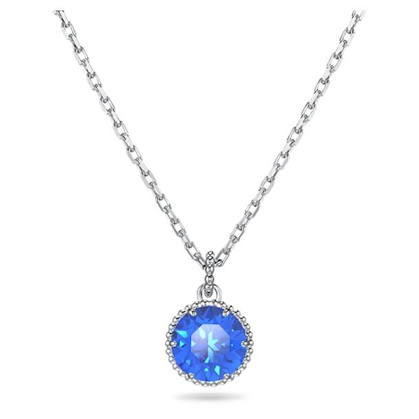 Pandantiv piatră zodiacală, septembrie, albastru, placat cu rodiu - Swarovski, 5555793