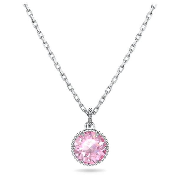 Birthstone Pendant, October, Pink, Rhodium plated - Swarovski, 5555794