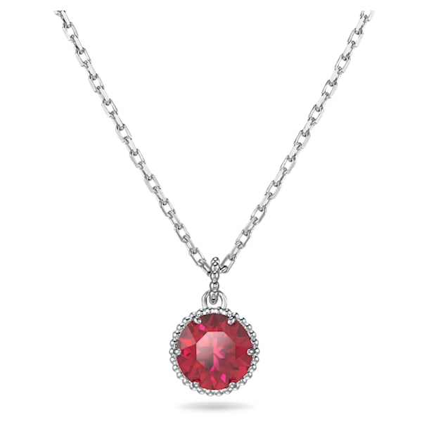 Birthstone Pendant, July, Red, Rhodium plated - Swarovski, 5555795