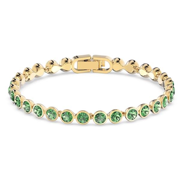 Tennis bracelet, Round, Green, Gold-tone plated - Swarovski, 5555824