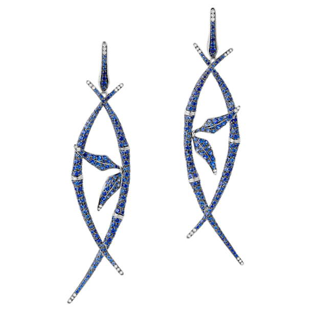 Bamboo Shoots Long Drop Earrings, Blue Swarovski Created Sapphires, 18K White Gold - Swarovski, 5555877