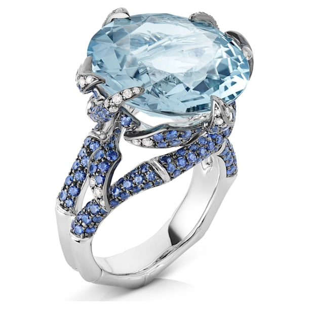 Bamboo Shoots Cocktail Ring, Blue Created Spinel, 18K White Gold, Size 55 - Swarovski, 5555881