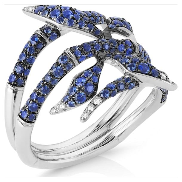 Bamboo Shoots Ring, Blue Swarovski Created Sapphires, 18K White Gold, Size 58 - Swarovski, 5555885
