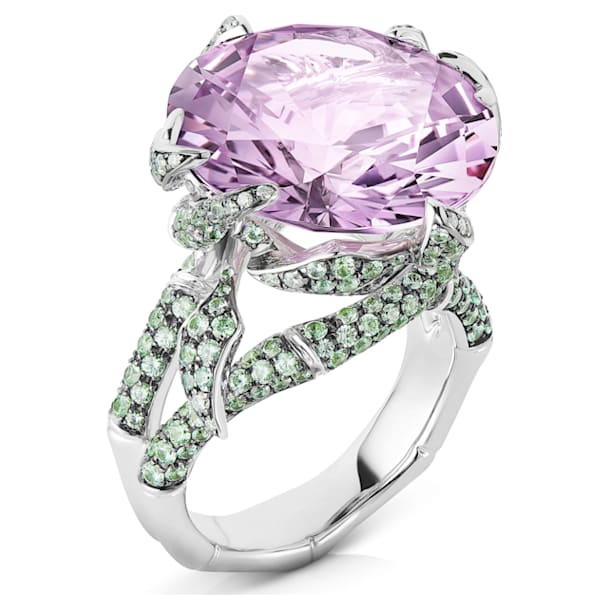 Bamboo Shoots Cocktail Ring, Pink & Green Created Sapphires, 18K White Gold, Size 55 - Swarovski, 5555899