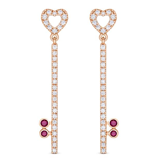 锁定我爱18K玫瑰金红宝石钻石耳环 - Swarovski, 5555951