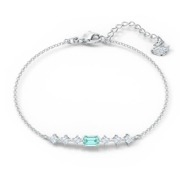 Attract Rectangular Bracelet, Green, Rhodium plated - Swarovski, 5556732