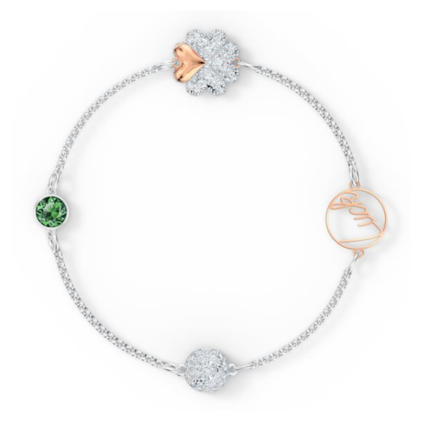 Łańcuszek Clover z kolekcji Swarovski Remix Collection, zielony, różnobarwne metale - Swarovski, 5556901