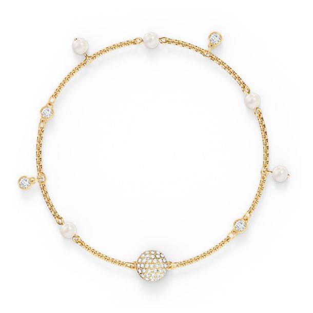 Strand Swarovski Remix Collection Delicate Pearl, blanc, métal doré - Swarovski, 5556904