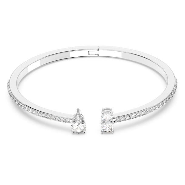 Attract-brede armband, Wit, Rodium-verguld - Swarovski, 5556912