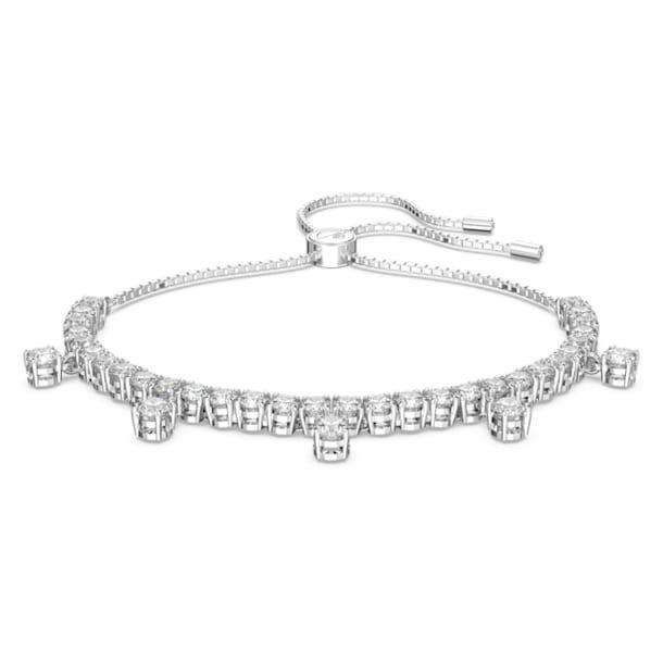 Subtle Drops armband, Wit, Rodium toplaag - Swarovski, 5556913