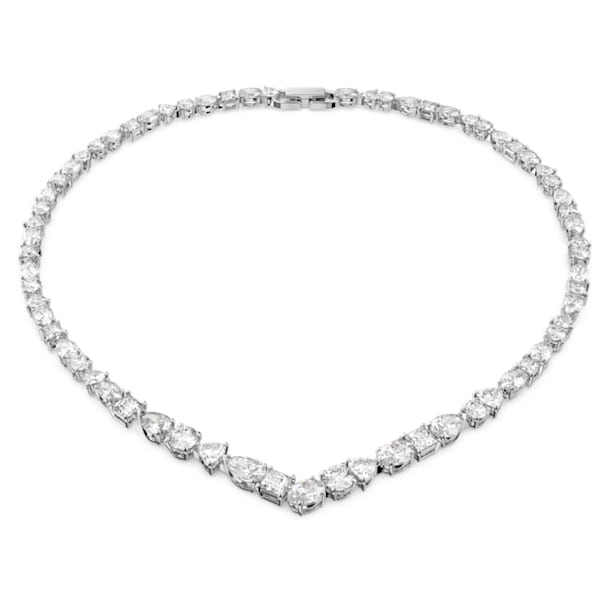 Collana a V Tennis Deluxe Mixed, bianco, placcato rodio - Swarovski, 5556917