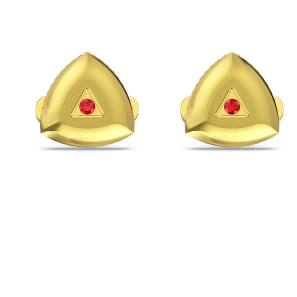 Spinki do mankietów Theo Fire, czerwone, w odcieniu złota - Swarovski, 5557443