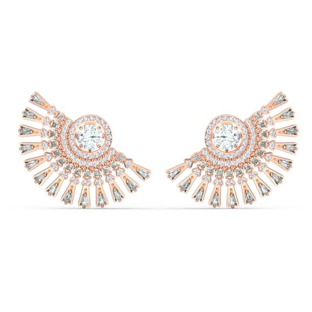Brincos para orelhas furadas Swarovski Sparkling Dance Dial Up, cinzentos, banhados a rosa dourado - Swarovski, 5558190