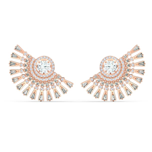Swarovski Sparkling Dance Dial Up earrings, Gray, Rose gold-tone plated - Swarovski, 5558190