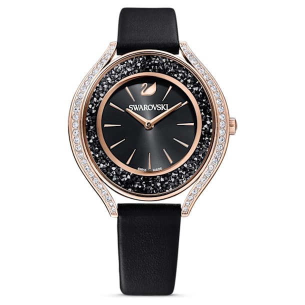 Crystalline Aura watch, Leather strap, Black, Rose-gold tone PVD - Swarovski, 5558634