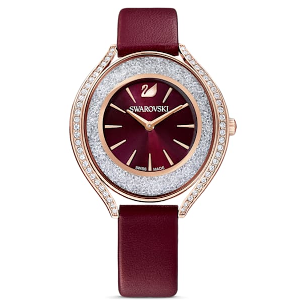 Crystalline Aura Watch, Leather strap, Red, Rose-gold tone PVD - Swarovski, 5558637