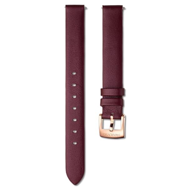 14 mm Horlogebandje, Leer, Bordeauxrood, Roségoud - Swarovski, 5559052