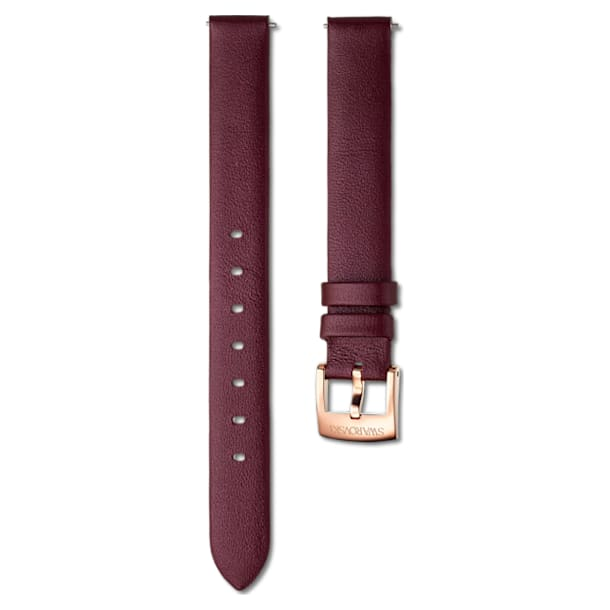 14mm Watch strap, Leather, Burgundy, Rose gold - Swarovski, 5559052