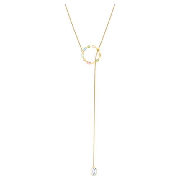 Rainbow Swan Y Necklace, Multicolored, Gold-tone plated - Swarovski, 5559300