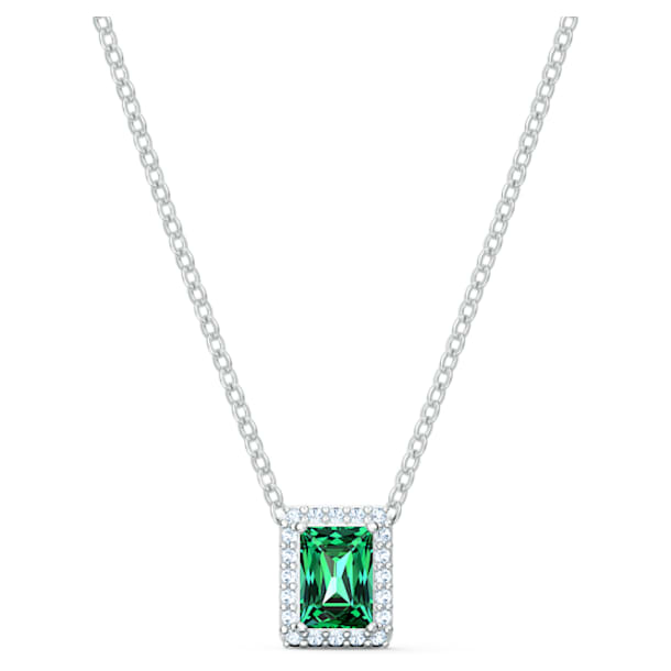 Angelic Rectangular Necklace, Green, Rhodium plated - Swarovski, 5559380
