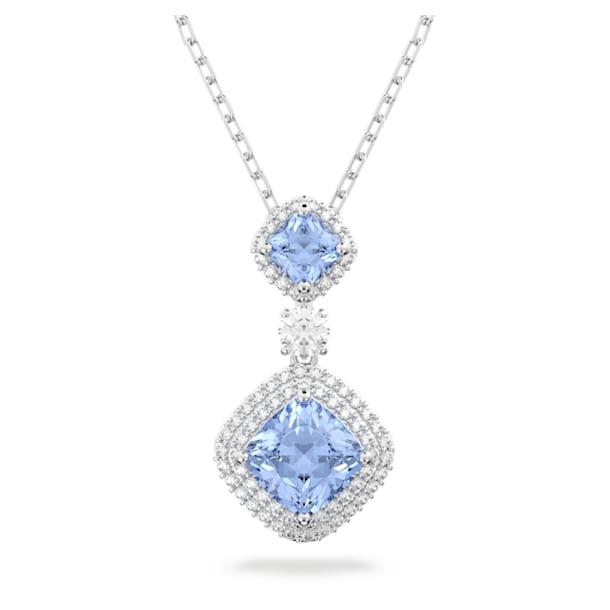 Angelic Necklace, Blue, Rhodium plated - Swarovski, 5559381