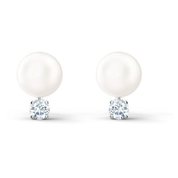 Treasure Pearl Pierced Earrings, White, Rhodium plated - Swarovski, 5559420