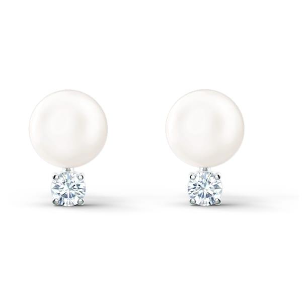 Treasure Pearl Pierced Earrings, White, Rhodium plated - Swarovski, 5559420