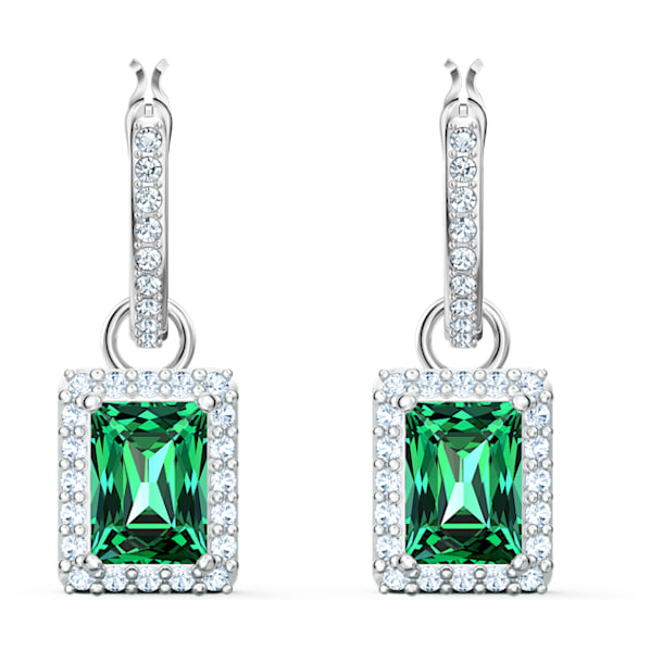Angelic Rectangular 穿孔耳环, 绿色, 镀铑 - Swarovski, 5559834