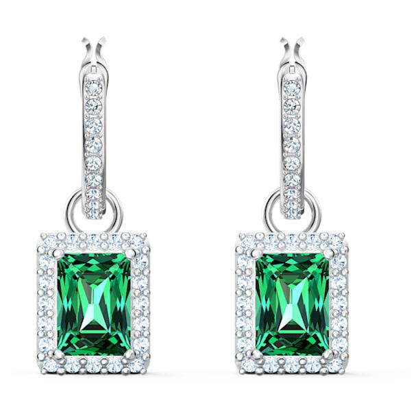 Angelic Rectangular 穿孔耳環, 綠色, 鍍白金色 - Swarovski, 5559834