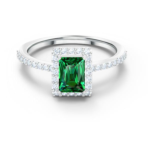 Angelic Rectangular 戒指, 綠色, 鍍白金色 - Swarovski, 5559835