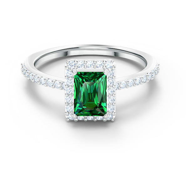 Anillo Angelic Rectangular, verde, baño de rodio - Swarovski, 5559835
