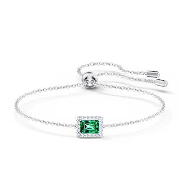 Angelic Rectangular Bracelet, Green, Rhodium plated - Swarovski, 5559836