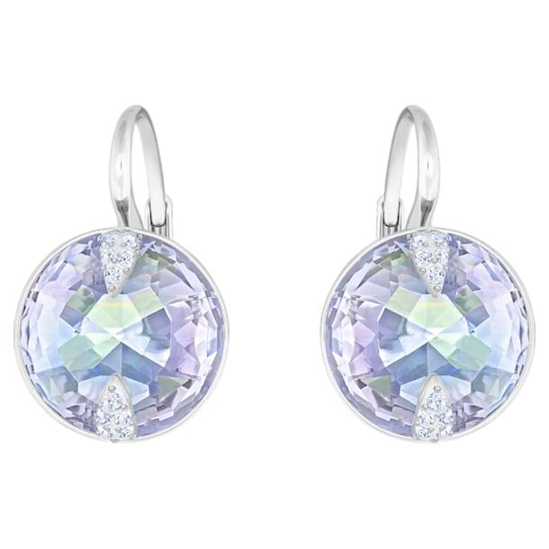 Globe pierced earrings, Blue, Rhodium plated - Swarovski, 5559860