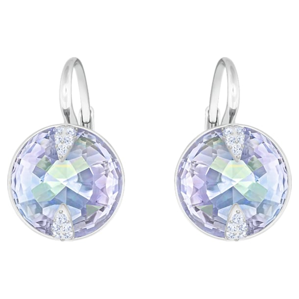Globe Pierced Earrings, Blue, Rhodium plated - Swarovski, 5559860