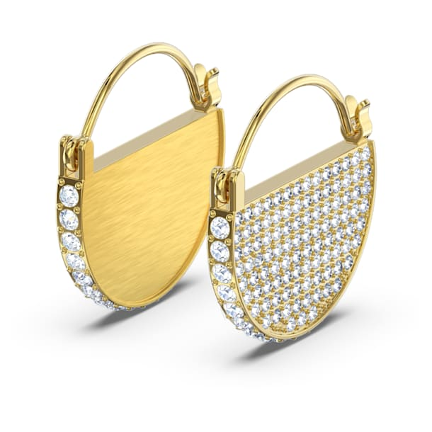 Ginger Hoop Pierced Earrings, White, Gold-tone plated - Swarovski, 5560492