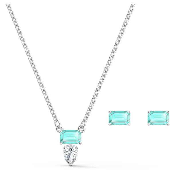 Attract Rectangular Set, grün, rhodiniert - Swarovski, 5560556