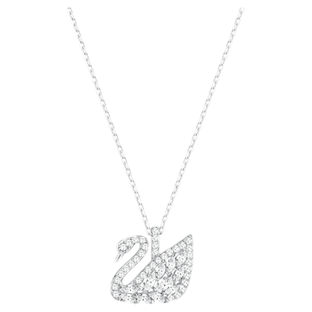 Swan Lake pendant, Swan, White, Rhodium plated - Swarovski, 5561477