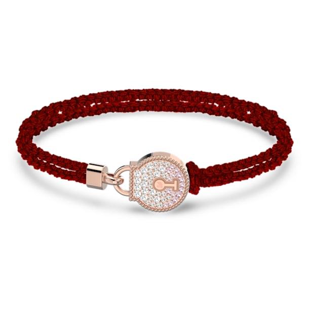 Togetherness Lock 手鏈, 紅色, 鍍玫瑰金色調 - Swarovski, 5561598