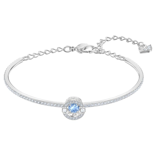 스와로브스키 Swarovski Sparkling Dance Bangle, Blue, Rhodium plated